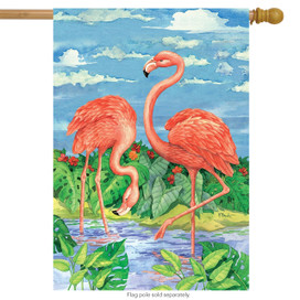 Bamboo Flamingos Summer House Flag