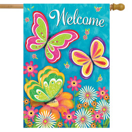 Butterfly Garden Welcome Spring House Flag