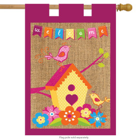 Spring Birds Burlap House Flag