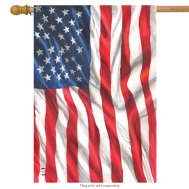 American Flag Waving House Flag