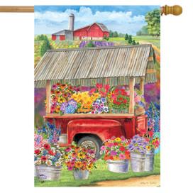 Spring Farm Floral House Flag