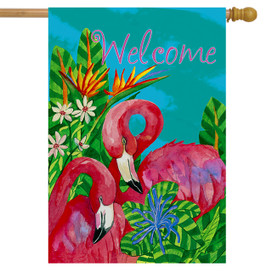 Tropical Flamingos Summer House Flag