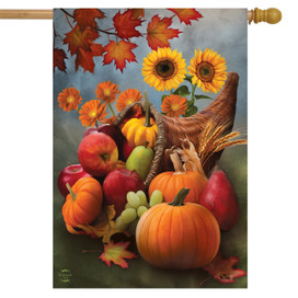 Bountiful Cornucopia Autumn House Flag