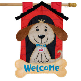 Welcome Doghouse Applique House Flag