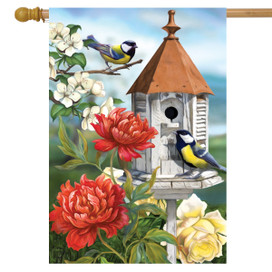 Home Sweet Birdhouse Spring House Flag