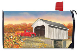 Autumn Bridge Sunset Mailbox Cover