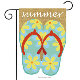 Summer Flip Flops Burlap Garden Flag