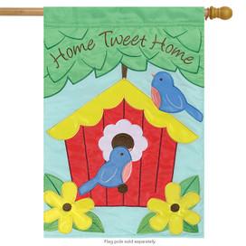 Home Tweet Home Spring Applique  House Flag
