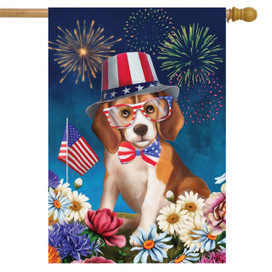 Celebrate Freedom Dog Fourth of July House Flag