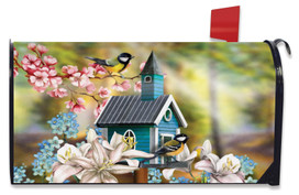 Peaceful Birdhouse Spring Mailbox Cover
