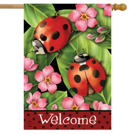 Ladybugs on Leaves Spring House Flag