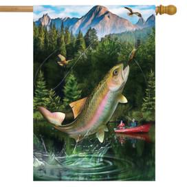 Gone Fishing Summer House Flag