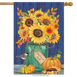 Fall Mason Jar Sunflowers House Flag