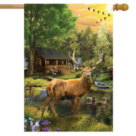 Great Outdoors Elk House Flag