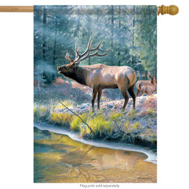 Elk Reflection Wildlife House Flag