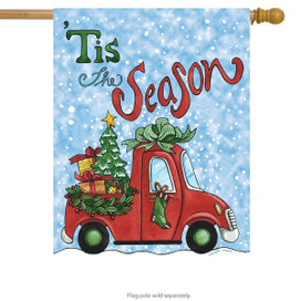 Tis The Season Pickup Christmas House Flag