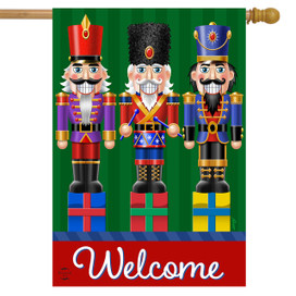Holiday Nutcrackers Welcome House Flag