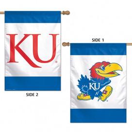 University of Kansas KU Jayhawk 2 Sided NCAA House Flag