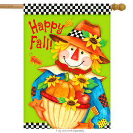 Checkered Scarecrow Fall House Flag