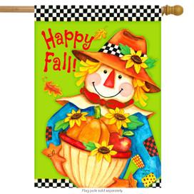 Checkered Scarecrow Fall House Flag
