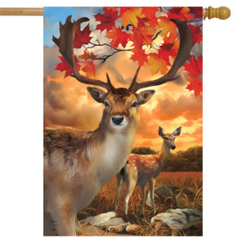 Harvest Deer Autumn House Flag