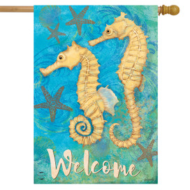 Seahorse Welcome Summer House Flag
