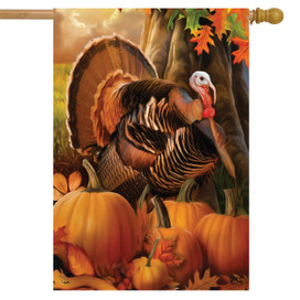 Harvest Turkey Fall House Flag