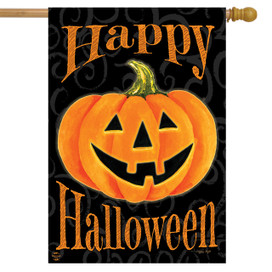 Glowing Jack-O-Lantern Halloween House Flag