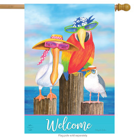 Coastal Bird Welcome Summer House Flag