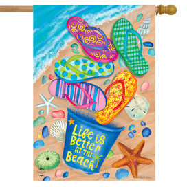 Better At The Beach Flip Flops Summer House Flag