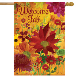 Fall Floral Welcome House Flag