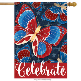 Americana Butterflies Patriotic House Flag