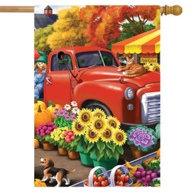 Farm Fresh Market Autumn House Flag