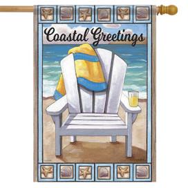 Coastal Greeting Beach Summer House Flag