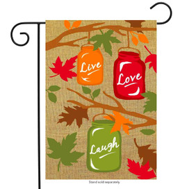 Fall Mason Jars Burlap Garden Flag