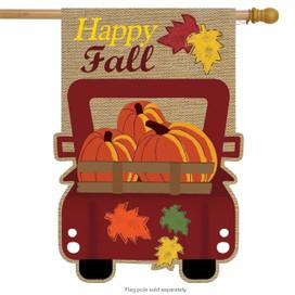 Happy Fall Pickup Burlap House Flag