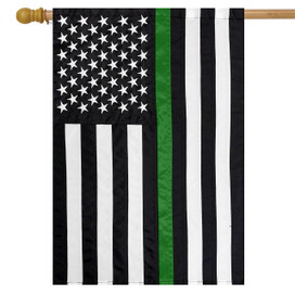 Thin Green Line Embroidered House Flag