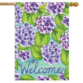 Purple Hydrangeas Spring House Flag