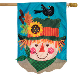 Harvest Scarecrow Fall Applique House Flag