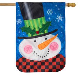 Jolly Snowman Winter Applique House Flag