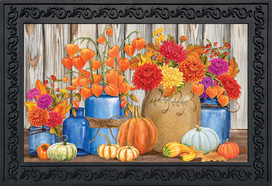 Fall Mason Jars Floral Doormat