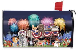 Patriotic Pups Fourth of July Magnetic Mailbox Cover