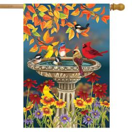 Fall Birdbath Floral House Flag