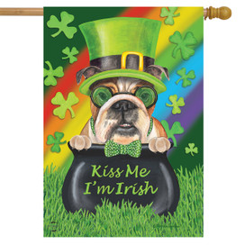 Kiss Me I'm Irish St. Patrick's Day House Flag