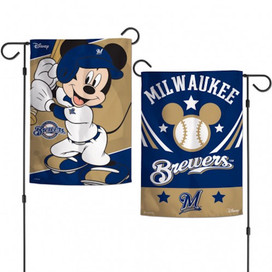 Milwaukee Brewers Mickey Mouse Garden Flag
