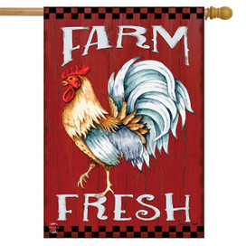Farm Fresh Rooster Summer House Flag