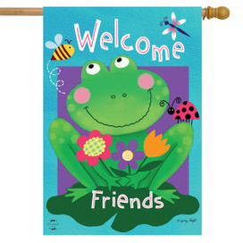 Welcome Friends Frog Summer House Flag