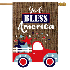 God Bless America Truck Burlap House Flag