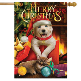 Christmas Puppy House Flag