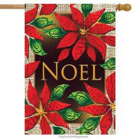 Noel Poinsettias Floral House Flag